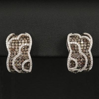 14K Diamond Layered J-Hoop Earrings