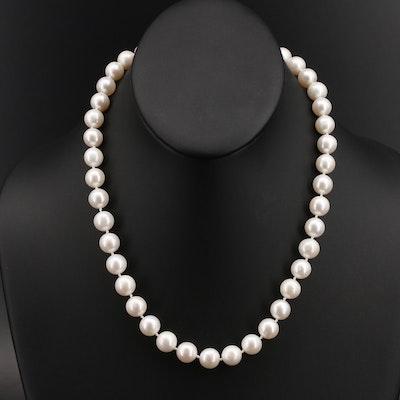 Pearl Necklace with 14K Quatrefoil Clasp
