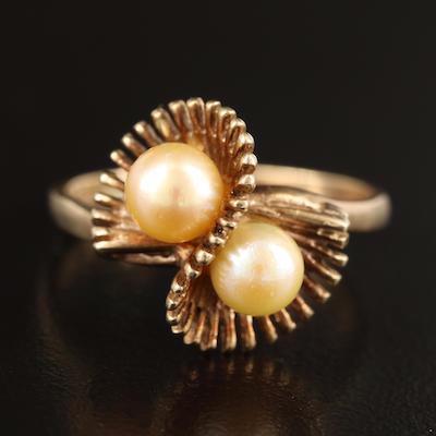 Vintage 10K Pearl Fanned Ring