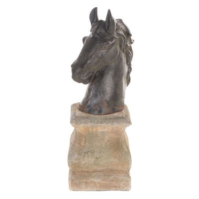 Painted Cast Iron Horse Head Outdoor Figurine with Concrete Base