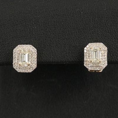 14K Diamond Double Halo Earrings