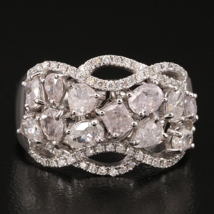 18K 1.98 CTW Diamond Cluster Ring