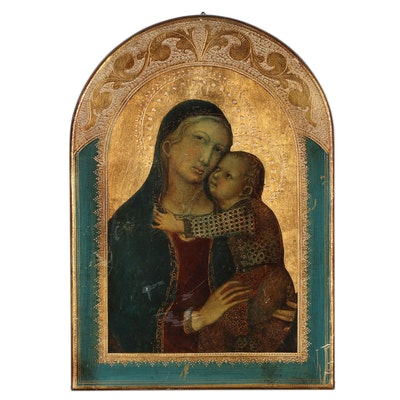 Embellished Collotype of Madonna and Child, Early-20th Century