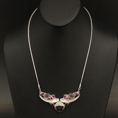Sajen Sterling Silver Mother of Pearl, Amethyst, and Topaz Necklace