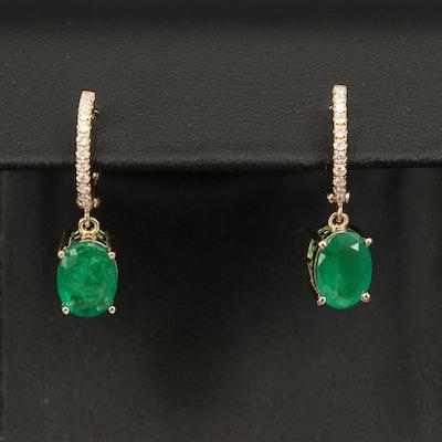 14K 2.90 CTW Emerald and Diamond Drop Earrings