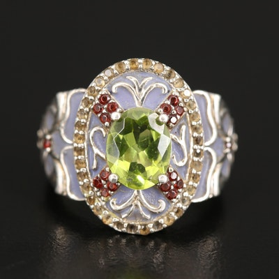 Sterling Enameled Ring Set with Peridot, Garnet and Citrine
