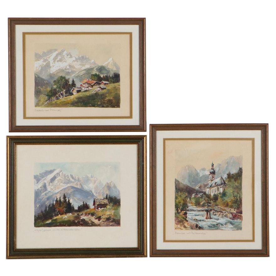 Landscape Gouache Painting of Mountainous Scenes, Late 20th Century