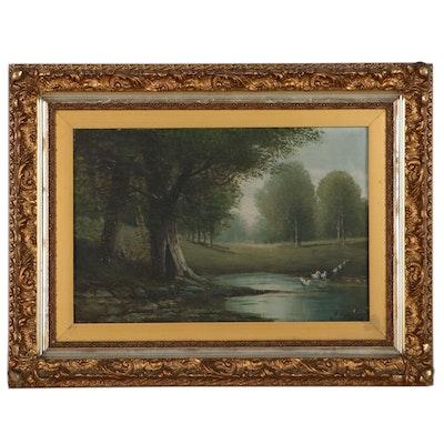 Pond Landscape Oil Painting, Circa 1900