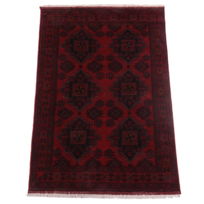 4'2 x 6'6 Hand-Knotted Afghan Turkmen Area Rug