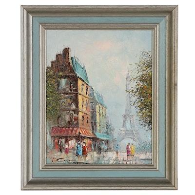 T. Carson Parisian Cityscape Oil Painting, Late 20th Century