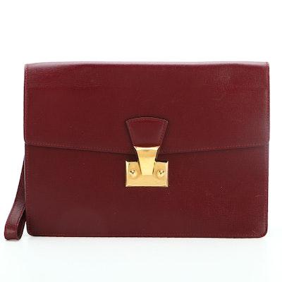 Cartier Clutch Wristlet in Burgundy Cross Grain Leather