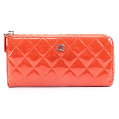 Chanel Continental Zipper Wallet in Quilted Patent Leather