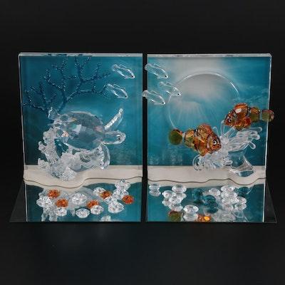 """Swarovski Wonders of the Sea """"Harmony"""" and """"Eternity"""" Crystal Figurines"""
