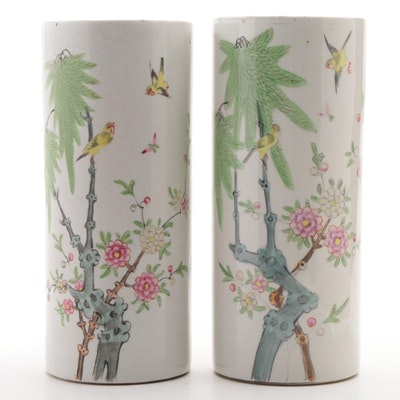 Pair of Chinese Ceramic Cylinder Vases with Garden Motif