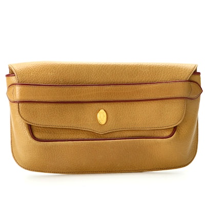 """Cartier """"Le Must"""" Envelope Clutch in Maize Yellow Pebbled Leather"""
