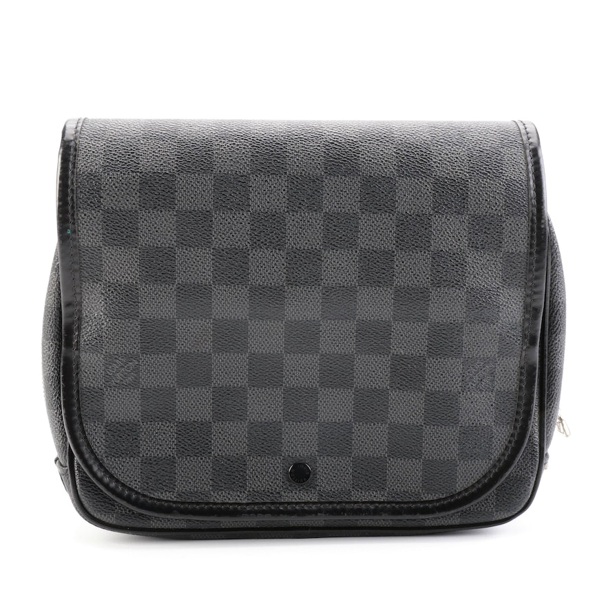 Louis Vuitton Hanging Toiletry Kit Pouch in Damier Graphite Canvas and Leather