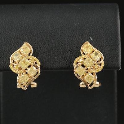 18K 2.97 CTW Yellow Diamond Earrings