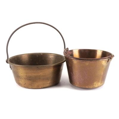 Waterbury Brass Co. Brass Kettle Bucket with Other Hammered Brass Bucket