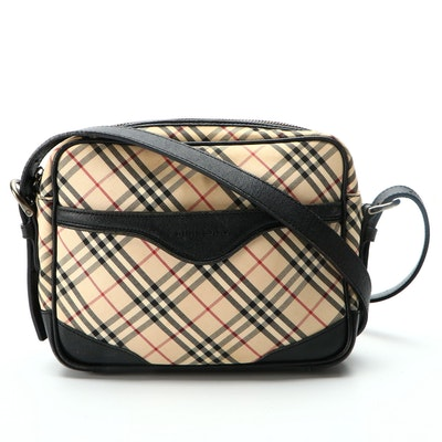 """Burberry Crossbody in """"Nova Check"""" Canvas and Black Leather"""