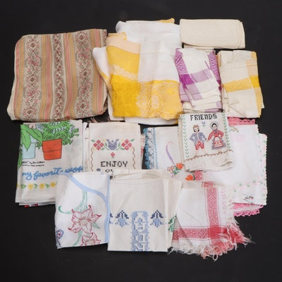Hand Embroidered and Crocheted Table Linens and Tea Towels with Pillow Cases
