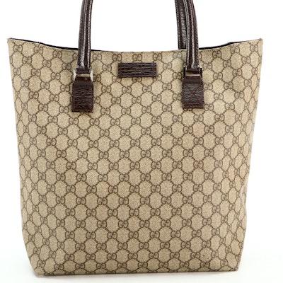 Gucci Shopper Tote in GG Supreme Canvas and Brown Leather