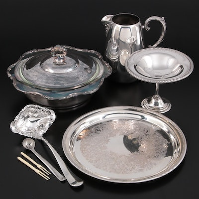 """Gorham """"Newport"""" Silver Plate Serving Bowl and Other Tableware, Late 20th C."""