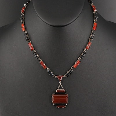 German Art Deco Sterling Silver Carnelian and Black Onyx Necklace
