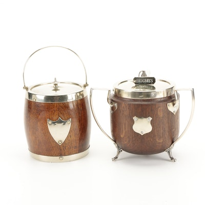 English Silver Plate and Oak Biscuit Barrels, Early 20th Century