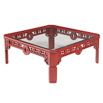 Chinese Style Red-Lacquered and Glass Top Coffee Table