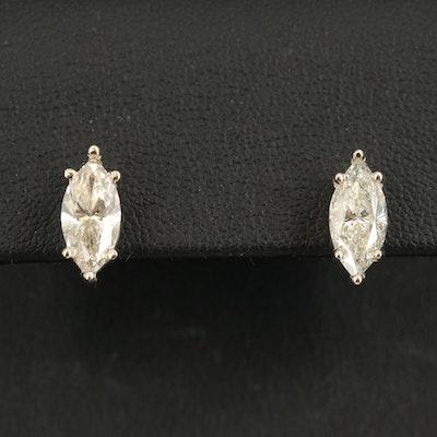 14K 2.69 CTW Diamond Marquise Stud Earrings