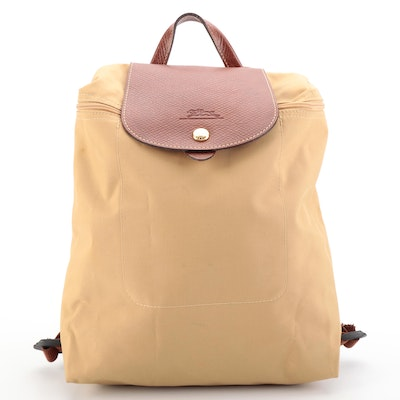 Longchamp Le Pliage Sac a Dos Backpack Purse in Nylon and Leather