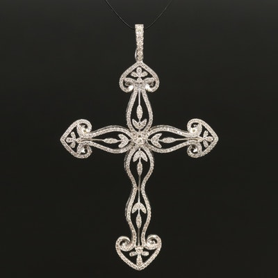 14K 1.35 CTW Diamond Cross Enhancer Pendant