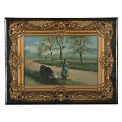 Landscape Oil Painting of Girl and Ox, Early to Mid-20th Century