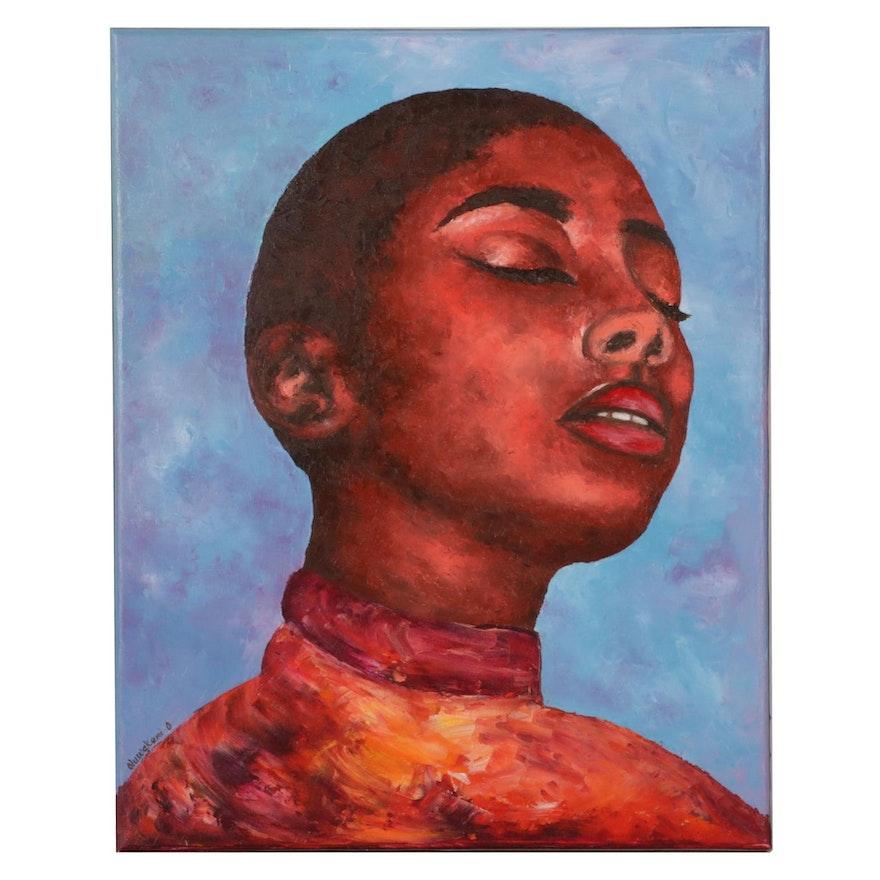 "Oluwakemi Omowaire Portrait Oil Painting ""Trusting the Journey,"" 21st Century"