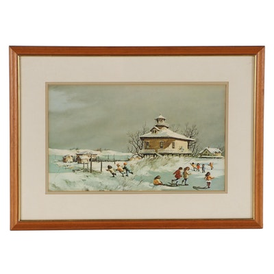 Offset Lithograph After Robert Fabe of Children in the Snow