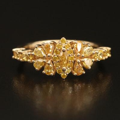 18K 1.06 CTW Diamond Cluster Ring