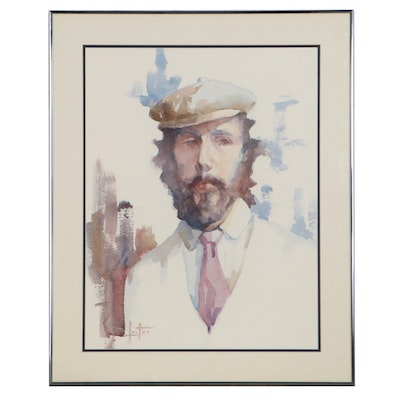 Margery Lester Portrait Watercolor Painting of Man