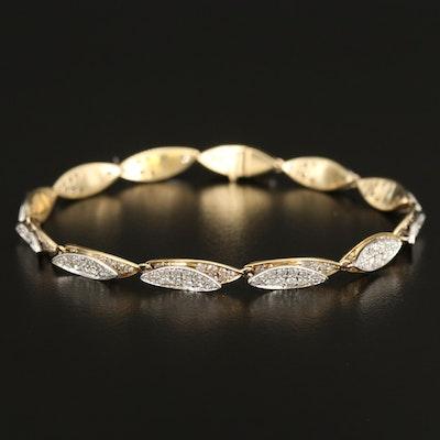 14K Two-Tone Gold 4.00 CTW Diamond Navette Link Bracelet