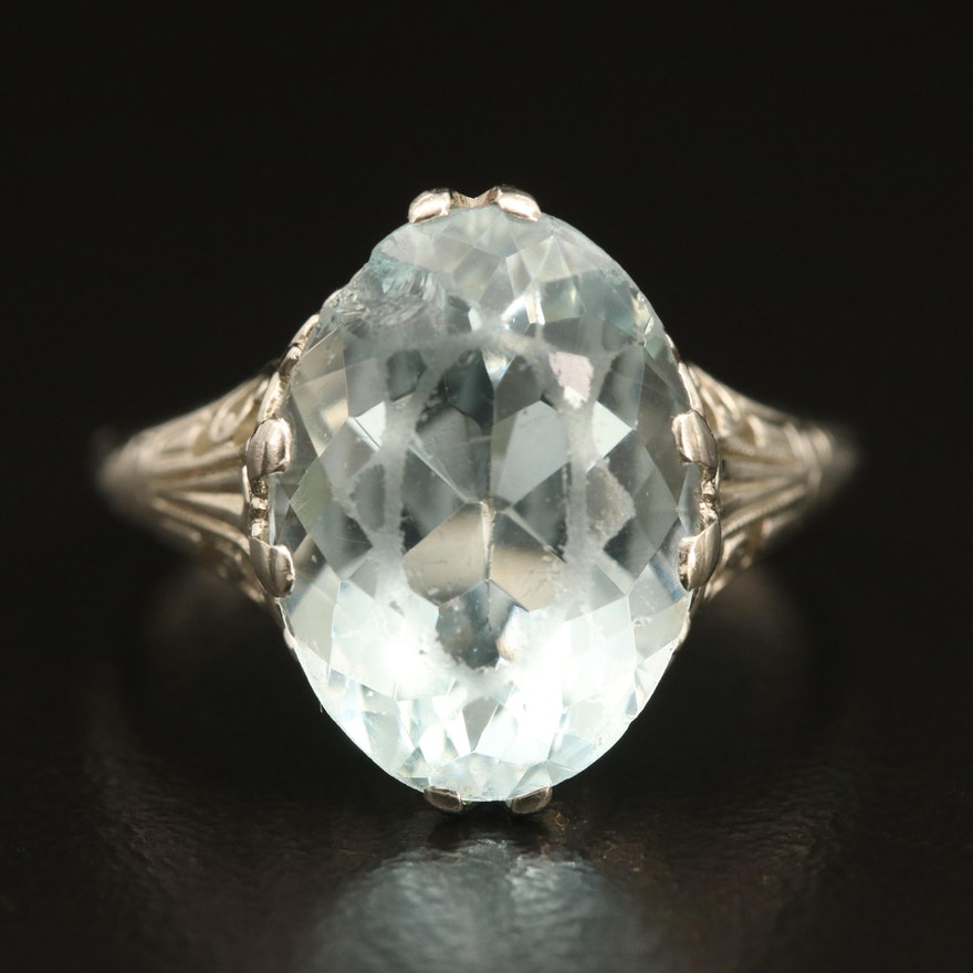 Vintage 14K 5.76 CT Aquamarine Ring