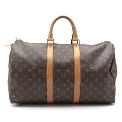Louis Vuitton Keepall 45 in Monogram Canvas and Vachetta Leather