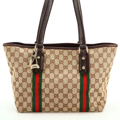 Gucci GG Canvas Shopper Tote with Web Stripes, Brown Leather Trim, and Charms