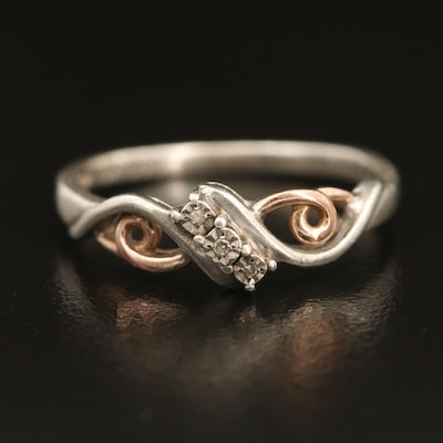 Sterling Silver Diamond Ring with 10K Accents