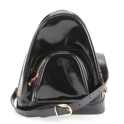Gucci Sling Bag in Black Glazed Leather with Bamboo Accents