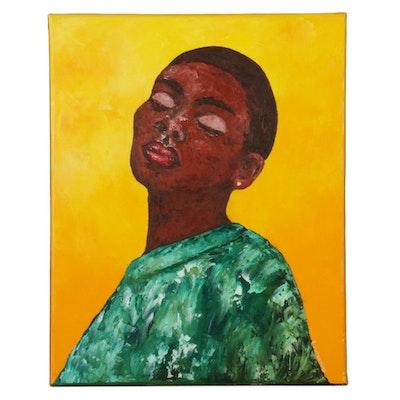 "Oluwakemi Omowaire Oil Painting ""The Lord Is My Shepherd,"" 21st Century"