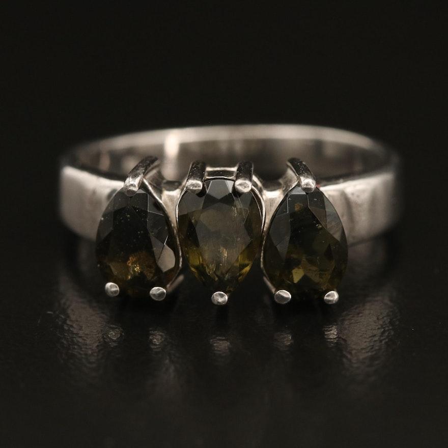 Sterling Silver Three Stone Moldavite Ring