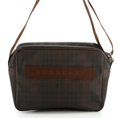 """Burberry Messenger Bag Dark Brown """"Haymarket"""" Check Coated Canvas and Leather"""