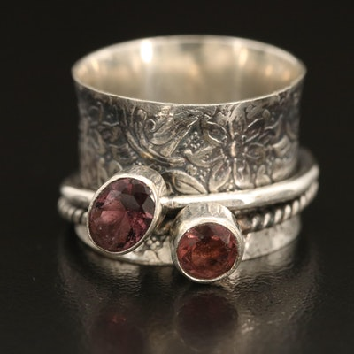 Sterling Double Spinner Floral Ring with Glass Accents