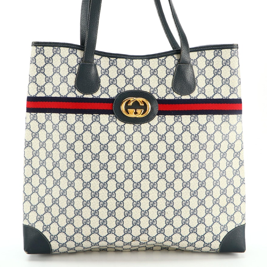 Gucci GG Supreme Coated Canvas and Leather Tote