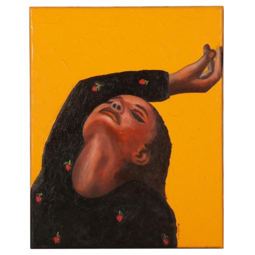 "Oluwakemi Omowaire Portrait Oil Painting ""Free,"" 21st Century"