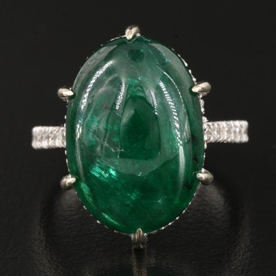 14K 14.61 CT Emerald and Diamond Ring with GIA Report